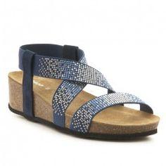 Sandalia plana Hestur para mujer, cuero azul, 8 M US