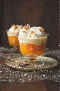 """low calorie dessert recipes, quick healthy dessert recipes, chilled dessert recipes - roldam: """" (via Winter clementine trifle Köstliche Desserts, Delicious Desserts, Dessert Recipes, Yummy Food, Orange Trifle Recipes, Winter Desserts, Winter Recipes, Plated Desserts, Food And Travel Magazine"""