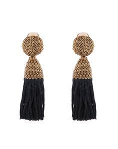Black Tassel Earrings | Oscar de la Renta | The statement earring is always a nice touch | Available now at Halsbrook.com