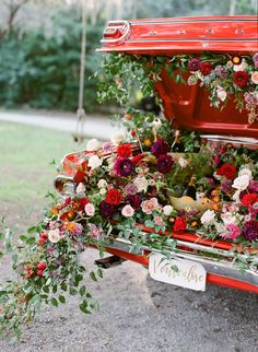 An Intimate Charleston Vow Renewal | Wingate Plantation | Photo by The Happy Bloom | www.thehappybloom.com | Charleston Wedding Photographers | Fall Color Palette | Champagne Filled Vintage Car