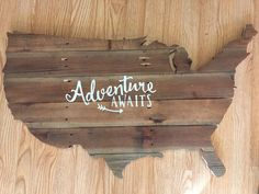 Handcrafted US map. This piece would look great in any room or will make a great gift. Adventure awaits is optional upon request. The wood is reclaimed and imperfections in the wood such as cracks, na
