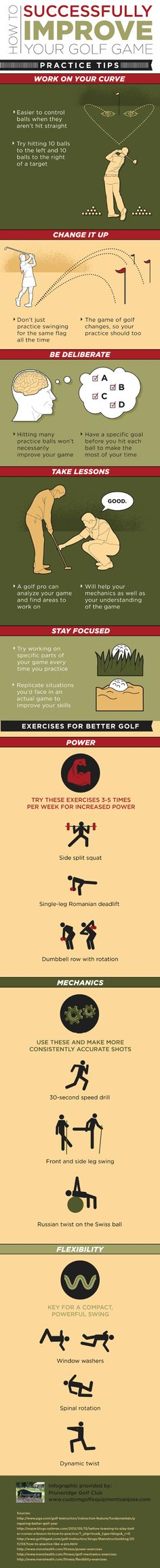 It is easier to control golf balls when they aren't hit straight. That is why it is important to work on your curve! Find more tips for improving your golf game by reading through this infographic from a golf club in San Jose. #LorisGolfShoppe