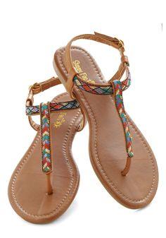 Foothill Fancy Sandal - Brown, Multi, Print, Beach/Resort, Boho, Flat, Casual, Summer