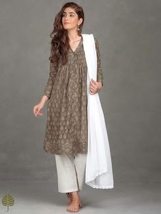 Buy Taupe Madder Black Brown Ajrak Printed Pleated Cotton Kurta Women Kurtas Online at Jaypore.com