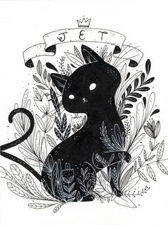 Cat triptic on behance drawing ideas em 2019 art, cat art e illustration. Art Inspo, Kunst Inspo, Inspiration Art, Art And Illustration, Cat Illustrations, Halloween Illustration, Art Mignon, Cat Drawing, Drawing Ideas