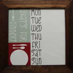 Custom Meal Planner - use dry erase on glass frame, create mat background yourself