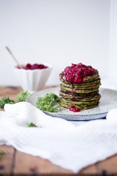 kale & zucchini pancakes with lingonberry jam (gluten + dairy free)