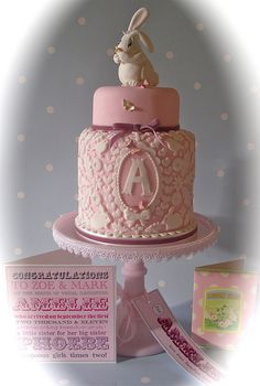 white rabbit baby shower cake