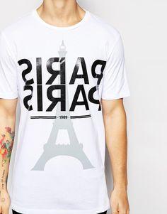Imagen 3 de Camiseta de corte extragrande con estampado de plastisol y tipografía de Paris de ASOS
