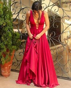 Sexy Prom Dress,Deep V Neck Evening Dress,Long Evening