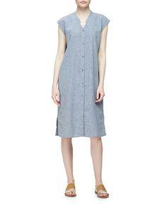 Linen-Blend+Cap-Sleeve+Calf-Length+Dress+by+Eileen+Fisher+at+Neiman+Marcus.