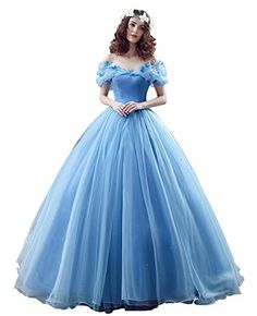 Blue Elsa or Cinderella design let it appropriate for Halloween costume, masque or fancy dress ball. V-neck and butterfly #decoration #adds more energy and cute....