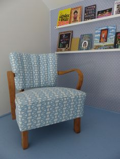 a reading corner with renewed chair