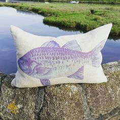 Blue fish cushion with a feather filled pad www.ruralurban.co.uk