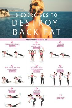 Here are 8 great exercises to get rid of that stubborn back fat. Go through the circuit 3 times for a real burn! burn fat workout 8 Exercises to Get Rid of Lower Back Fat for Women Fast Weight Loss Tips, How To Lose Weight Fast, Losing Weight, Reduce Weight, Fitness Before After, Lower Back Fat, Burn Back Fat, Lower Backs, Fit Back