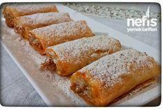 Elmalı Çıtır Rulo- 15 adet baklava yufkası 4 orta boy elma 1 çay bardağı şeker Tarçın 1 çay bardağı çekilmiş ceviz 150 gram tereyağ veya margarin Yarım çay bardağı sıvı yağ Üzeri için:pudra şekeri tarçın karışımı