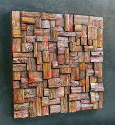 wood art, wooden blocks panel, recycled wood art, acoustic panel, corporate art