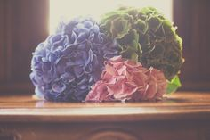blue pink and green hydrangea bouquet - Read more on One Fab Day: http://onefabday.com/castle-oliver-wedding-by-chemistry-photography/