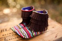 $32 Aztec Moccasin Boots | Brown Baby and Toddler Fringe Boots