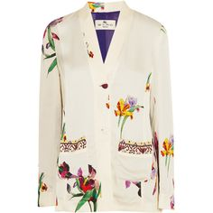 Etro Embroidered floral-print satin-crepe blazer ($1,845) ❤ liked on Polyvore featuring outerwear, jackets, blazers, white, white satin blazer, floral-print blazers, white floral blazer, embroidered jacket and floral blazer jacket