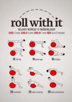 Just Roll With It. Core & Abs Exercise Ball Workout , Just Roll With It. Core & Abs Exercise Ball Workout Just Roll With It. Fitness Workouts, Sport Fitness, At Home Workouts, Health Fitness, Exercise Ball Workouts, Workout Ball, Fitness Ball Exercises, Pilates Workout Videos, Bike Workouts