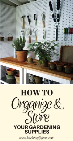 Click now to learn the best tips for organizing and storing your gardening supplies and tools and how to organize your garden shed. Fournitures de Jardinage Tips for Organizing and Storing Your Gardening Supplies - Tool Shed Organizing, Garden Tool Organization, Garden Tool Storage, Shed Storage, Storage Ideas, Organization Ideas, Storing Garden Tools, Gardening Supplies, Gardening Tips