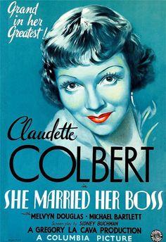 She Married Her Boss Vintage Movie Poster Lithograph Claudette Colbert S2 Art  #ArtDeco