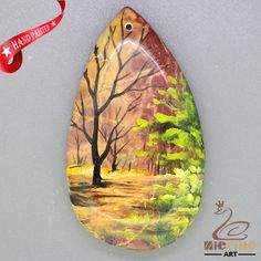 New  Fashion Pendant Hand Painted Scenery Natural Gemstone   ZL806136 #ZL #Pendant