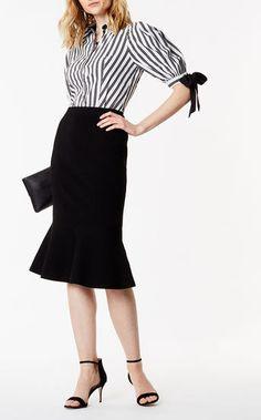 Karen Millen, Aansluitende midi-rok met schootje Zwart