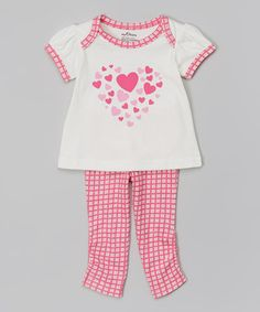 Look at this #zulilyfind! Pink Plaid Heart Organic Tee & Stripe Leggings - Infant by My O Baby #zulilyfinds