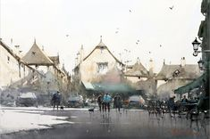 Joseph Zbukvic : is one of the finest master watercolor painters in the world; his watercolor painting instruction workshops sell out w. Watercolor Artists, Artist Painting, Watercolor Paintings, Watercolours, Painting Courses, Art Courses, Watercolor Architecture, Watercolor Landscape, Watercolor Scenery
