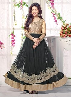 Beige N Black Riya Sen Anarkali Suit