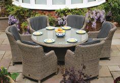 150cm Bali Round Dining Table with 6 Brighton Dining Armchairs - Garden Dining Sets - Garden   Bridgman