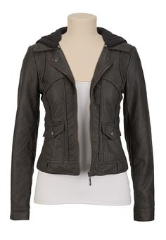 Hooded Faux Leather Jacket available at #Maurices .....someone get me this for my birthday. please and thanks.