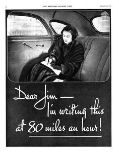 """Ad for a 1934 De Soto Airflow. Aren't you just itching to finish her letter? """"Dear Jim....I'm writing this at 80 mph. Helen and I just robbed the Lawson place. I shot Charlotte Lawson..."""""""