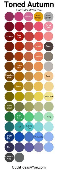 Toned Autumn Color Palette (Soft Autumn) This palette would be more 2 as it's toned. Soft Autumn Color Palette, Colour Pallette, Color Combos, Soft Autumn Makeup, Soft Autumn Deep, Dark Autumn, Summer Colors, Warm Colors, Colours