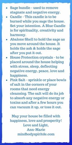 Sage House Cleansing, Sage Cleansing Prayer, Smudging Prayer, Sage Smudging, Spiritual Manifestation, Spiritual Words, Money Spells That Work, Buddhist Symbols, House Blessing