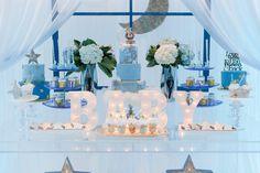 Dessert table setup for a baby shower #caketable #babyshower #ideas