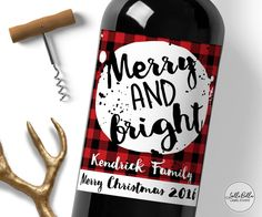 Merry Christmas Wine Label Holiday Gift Merry & by LolliBella