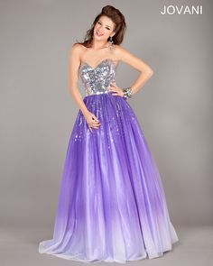 Jovani long Ballgown features a mirror beaded top bodice and an ombre tulle full skirt. Wear this gown to a Quinceanera or a bat-mitzvah. Style, 6432