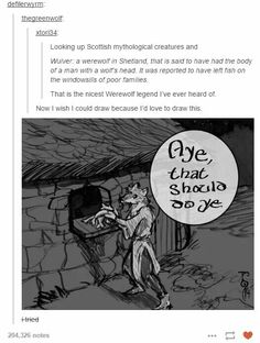 The nicest werewolf is Remus Lupin <<< I love that it's Scotland who decided that werewolves just wanted to help people Tumblr Funny, Funny Memes, Hilarious, Funny Tweets, Tumblr Stuff, Tumblr Posts, Mythological Creatures, Mythical Creatures, Fantasy Creatures