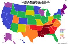 Overall religiosity by U.S. State