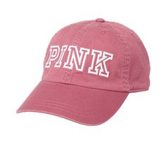 Baseball Hat PINK ($20) ❤ liked on Polyvore featuring accessories, hats, pink baseball hat, ball cap, baseball hats, pink ball cap and victoria secret hats