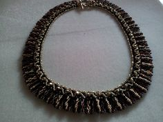 Egyptian necklace made from black, gold and topaz delicas and size 15 seed beads    Made as birthday present for my Mum