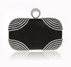 HOT punk finger rings rhinestones evening bags clutch purse evening women bags wedding handbags/tote shoulder bag