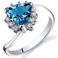 Swiss Blue Topaz Bypass Ring Sterling Silver Rhodium Nickel Finish Trillion Cut 1.25 Carats Sizes 5 to 9 *** Review more details here : Jewelry Rings