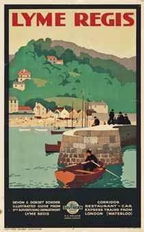 Vintage poster of Lyme Regis by Alfred Lambert Posters Uk, Train Posters, Railway Posters, Art Deco Posters, Type Posters, Poster Prints, Retro Posters, British Travel, British Seaside