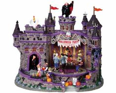 May have the typical Lemax factory flaws on it. -Vampire party host moves forward from castle door. -Monster party revelers move around buffet table. Saw Halloween, Halloween Town, Halloween Crafts, Halloween Decorations, Halloween Stuff, Fall Decorations, Halloween 2020, Halloween Ideas, Happy Halloween