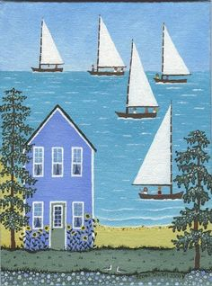 Summer Sailing Original nautical folk art painting by Regan Tausch
