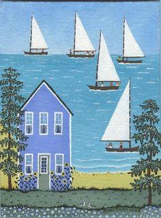 Summer Sailing Original nautical folk art painting by Regan Tausch